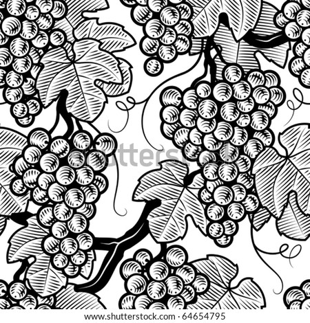 Seamless grape background black and white. Vector