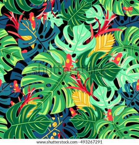 Seamless graphic pattern with leaves monstera and frogs on a dark background