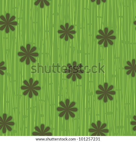 seamless grass and flowers pattern