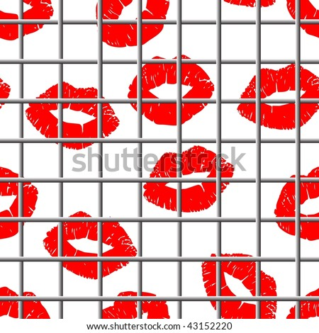 Seamless grating lips background - image for Valentines day design