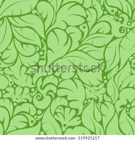 Seamless green floral pattern background. Vector Illustration