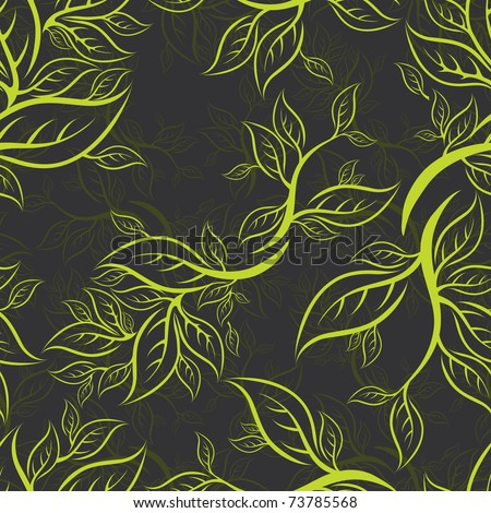 """Seamless green floral pattern with leafs (From my big """"Seamless collection"""")"""