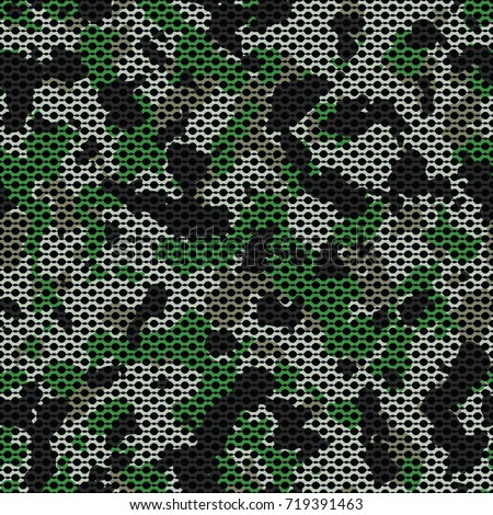 Seamless green gray brown and black camouflage with canvas mesh military fashion pattern vector
