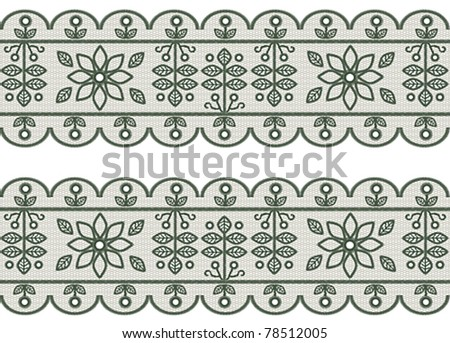 Seamless green lace stripe pattern