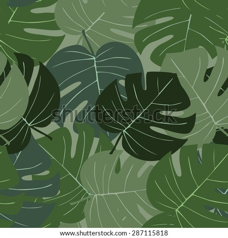 seamless green palm leaves #287115818