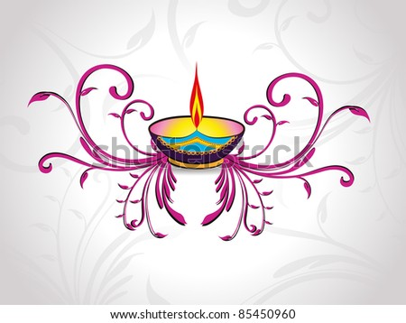 seamless grey floral pattern background with purple floral and lit diya for deepawali & other indian festival