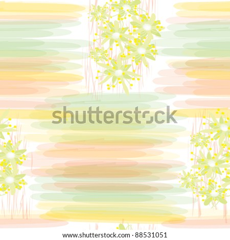 Seamless grunge floral pattern with watercolor stripes