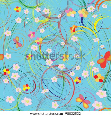 Seamless grunge pattern with rainbow circles, flowers and butterflies