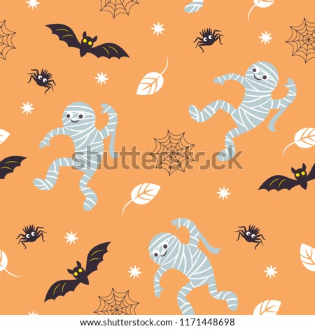 seamless Halloween background, fun mummies, bat and spider