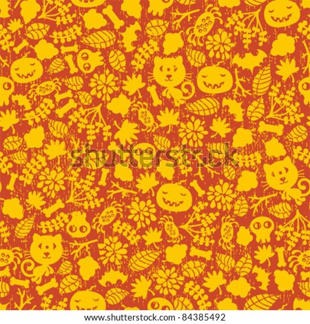 Seamless Halloween background with monsters in two colors.