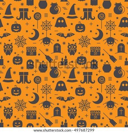 Seamless Halloween colourful orange and black pattern with festive Halloween icons. Design for wrapping paper, paper packaging, textiles, holiday party invitations, greeting card. Vector illustration.