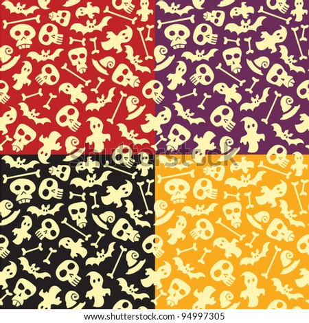 Seamless Halloween pattern background with sculls and bones