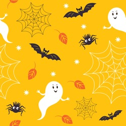 seamless halloween pattern, cute little ghostes, spider, bats, and spiderweb