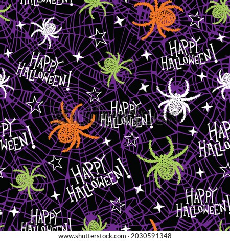 Seamless halloween pattern for girls or boys. Creative vector spooky black background with textured spider. Funny creepy pattern for textile and fabric. Repeat spider, happy halloween.