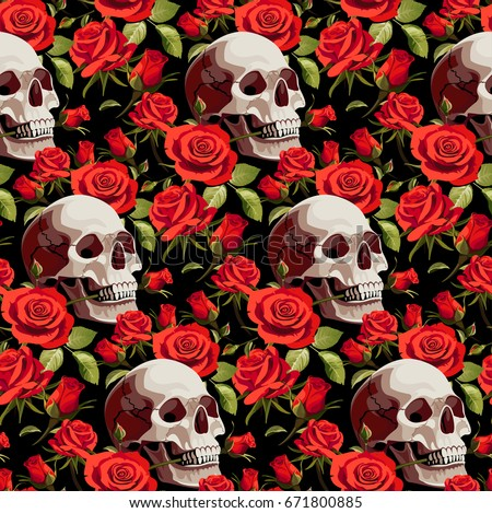 seamless halloween pattern with skulls and red roses on a black background - Halloween Skulls