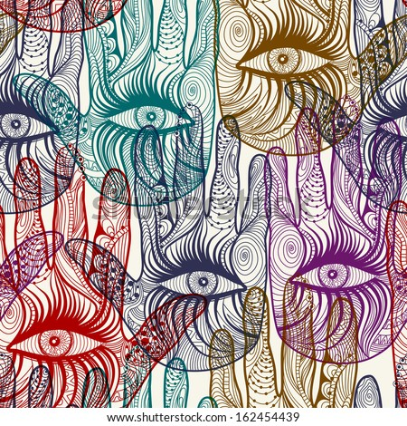 Seamless hand background pattern in vector. EPS 10