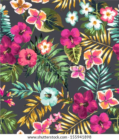seamless hand draw tropical flower,blossom cluster pattern background