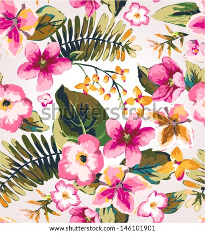 seamless hand draw tropical flower vector pattern