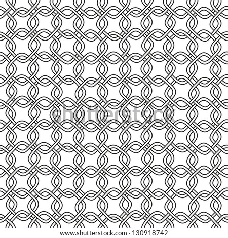 Seamless hand drawn chain pattern. Black and white. Vector illustration