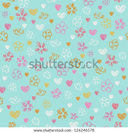Seamless hand drawn doodle pattern with hearts, flowers and birds. Endless childish texture. Template for design and decoration