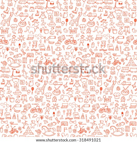 Shutterstock Seamless hand drawn doodle pattern with toys. Vector  illustration for backgrounds, web design, design elements, textile prints, covers, greeting cards