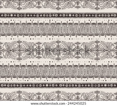 Seamless hand-drawn horizontal pattern, brown on beige background. #244245025