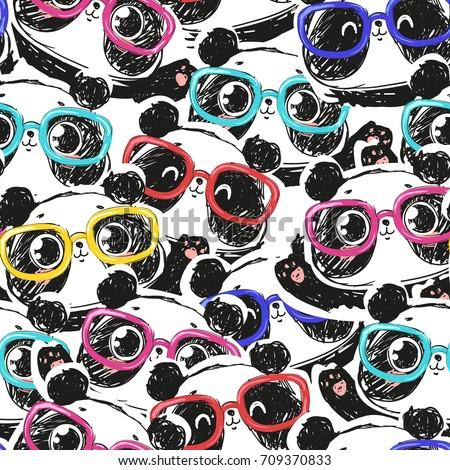 seamless hand drawn panda with glasses pattern, panda vector pattern