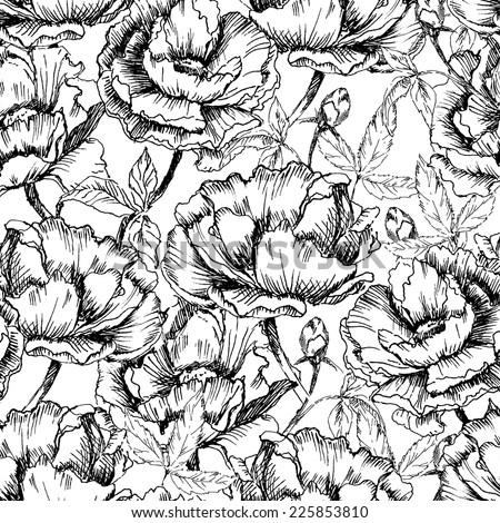 Seamless hand drawn pattern of peonies. Vintage vector illustration