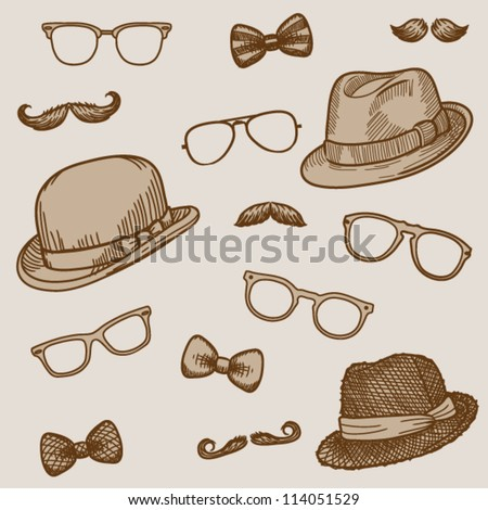 Seamless hand drawn pattern of vintage  bowler, fedoras, mustaches, eyeglasses and a bow ties (bright)- vector illustration.