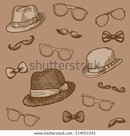 Seamless hand drawn pattern of vintage  bowler, fedoras, mustaches, eyeglasses and a bow ties (brown)- vector illustration.