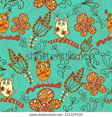 Seamless Hand-Drawn Pattern with birds