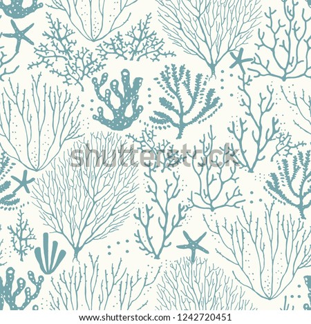 Seamless hand drawn pattern with coral reef and starfishes. Vector turquoise illustration on beige background.