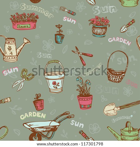 Seamless hand drawn pattern with garden tools. Colorful endless texture with flowers and plants, template for design textile, backgrounds, wrapping paper etc.