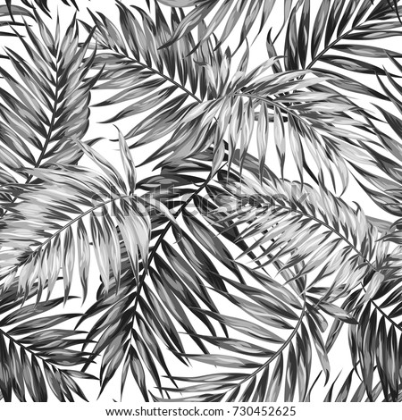 Seamless hand drawn tropic exotic botanical vector pattern texture with rainforest jungle tree palm leaves foliage. Black and white illustration. Twilight night time.