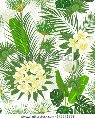 Seamless hand drawn tropical pattern with palm leaves, jungle exotic leaf on white background. Fashion textile print, summer floral wallpaper. Vector illustration, botanical drawing