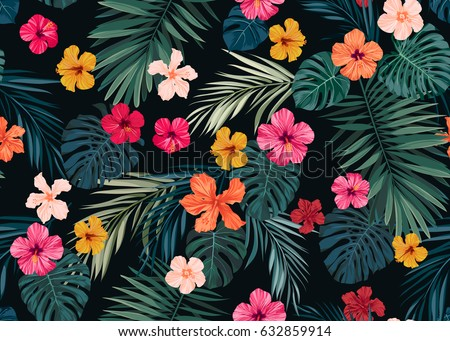 Shutterstock Seamless hand drawn tropical vector pattern with bright hibiscus flowers and exotic palm leaves on dark background.