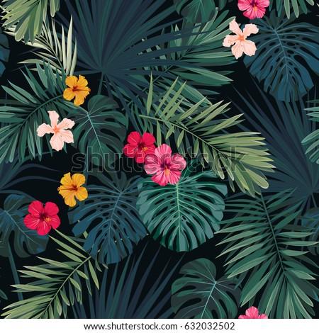 seamless hand drawn tropical
