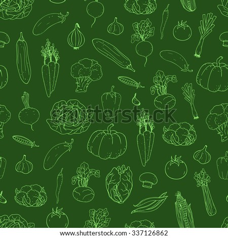 Seamless hand-drawn vegetable  background.  Can be used for wallpaper, web page background, surface textures. #337126862
