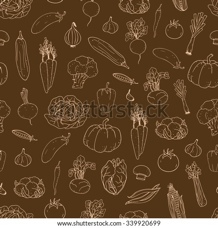 Seamless hand-drawn vegetable  background.  Can be used for wallpaper, web page background, surface textures.