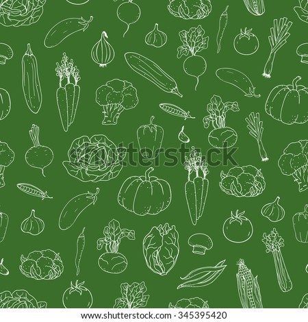 Seamless hand-drawn vegetable  background.  Can be used for wallpaper, web page background, surface textures. #345395420