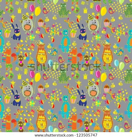Seamless Happy birthday background, funny cartoon set with mouse, fox, bear, wolf, frog, hedgehog and hare, vector
