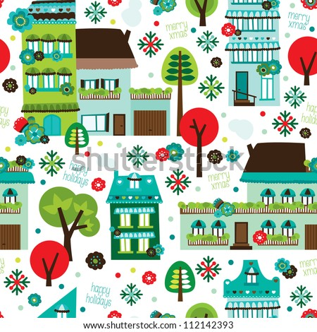Seamless happy holidays retro christmas background pattern in vector