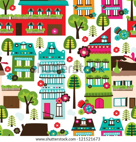 seamless happy village houses