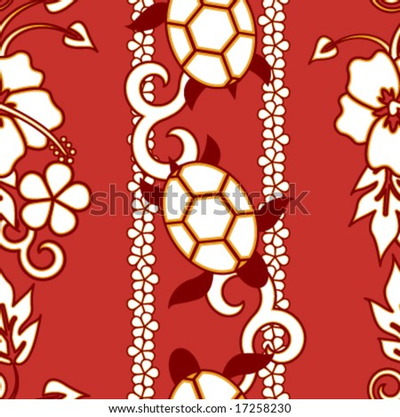stock vector : Seamless Hawaiian Turtle Pattern - Red version