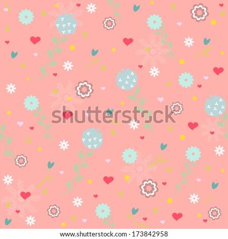 vector ornamental heart random seamless pattern on pink background