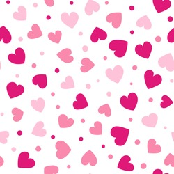 Seamless hearts and dots pattern with white background. Vector repeating texture. Perfect for printing on fabric or paper.