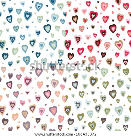 Seamless hearts fifties retro design pattern - stock vector