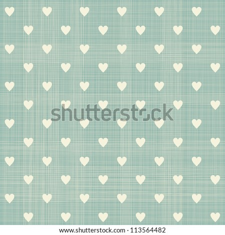 seamless hearts polka dot pattern with retro texture - stock vector
