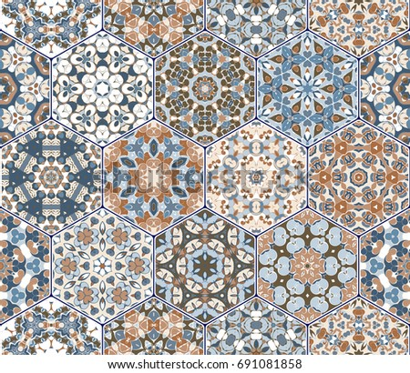 Seamless hexagonal mosaic tiles in vector set. Oriental and ethnic motifs in design patterns.