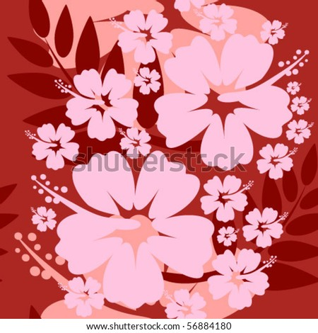 Hibiscus Flower Picture on Seamless Hibiscus Flower Background Stock Vector 56884180